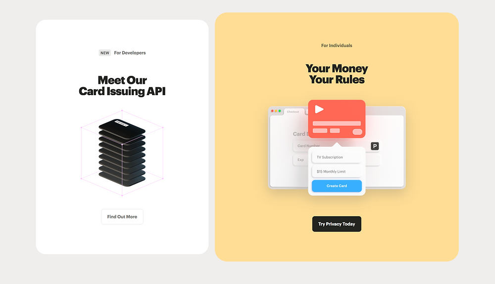 New For Developers: Meet our card issuing API ... Find Out More For Individuals: Your Money Your Rules ... Try Privacy Today