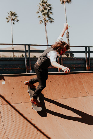 Skate Park, Cayucos, Groom Skaing on Wedding Day