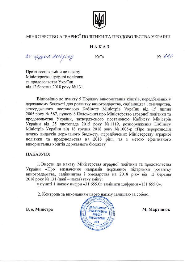 Наказ від 20.12.2018 №640 про внесення з
