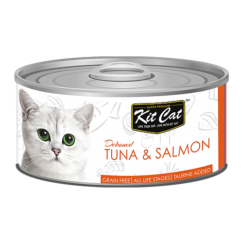 Kit Cat Deboned Tuna & Salmon Toppers Canned Cat Food 80g