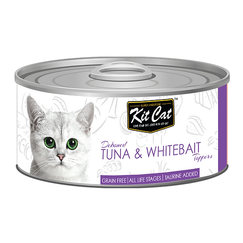 Kit Cat Deboned Tuna & Whitebait Toppers Canned Cat Food 80g