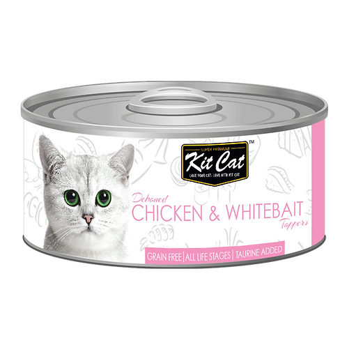 Kit Cat Deboned Chicken & Whitebait Toppers Canned Cat Food 80g