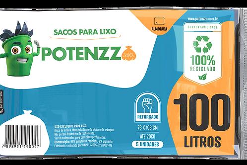 SACO DE LIXO 100 LITROS - LINHA ALMOFADA - PCT C/ 05 UN