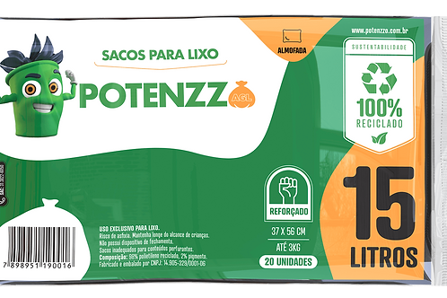 SACO DE LIXO 15 LITROS - LINHA ALMOFADA - PCT C/ 20 UN