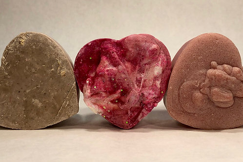 Valentines Day Heart Shaped Soap Trio