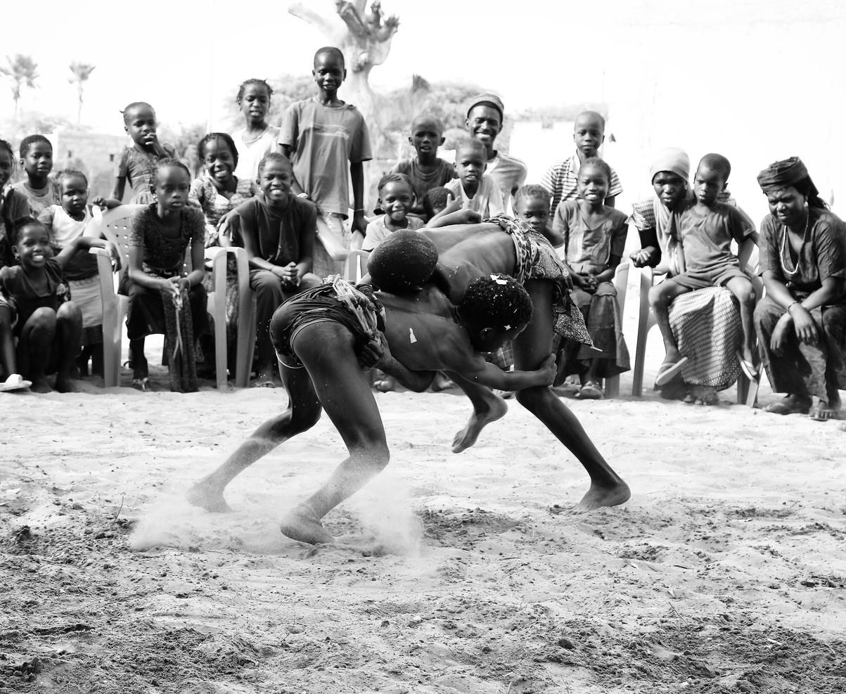 Senegalese boys wrestling
