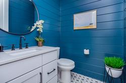 Shiplap Half Bathroom, Black Faucets, Farmhouse Style