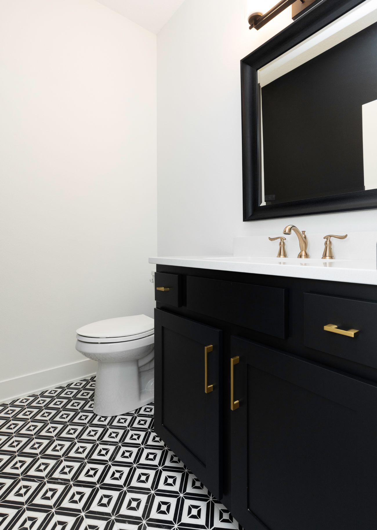 Black and White Half Bath, Marble Floor