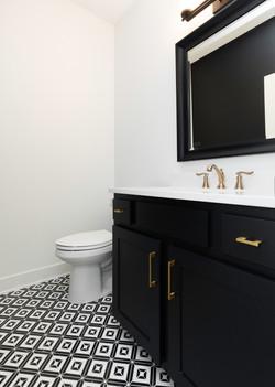 Black and White Half Bath, Marble Floor