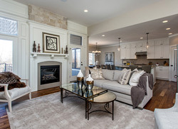 Living Room with Fireplace and Stone, Light, Open Floor Plan