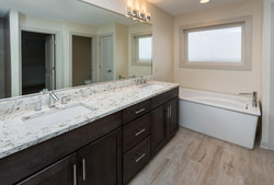 Stained Cabinet in Bathroom