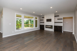 Linear Electric Fireplace-Floating Shelfs-Large Windows