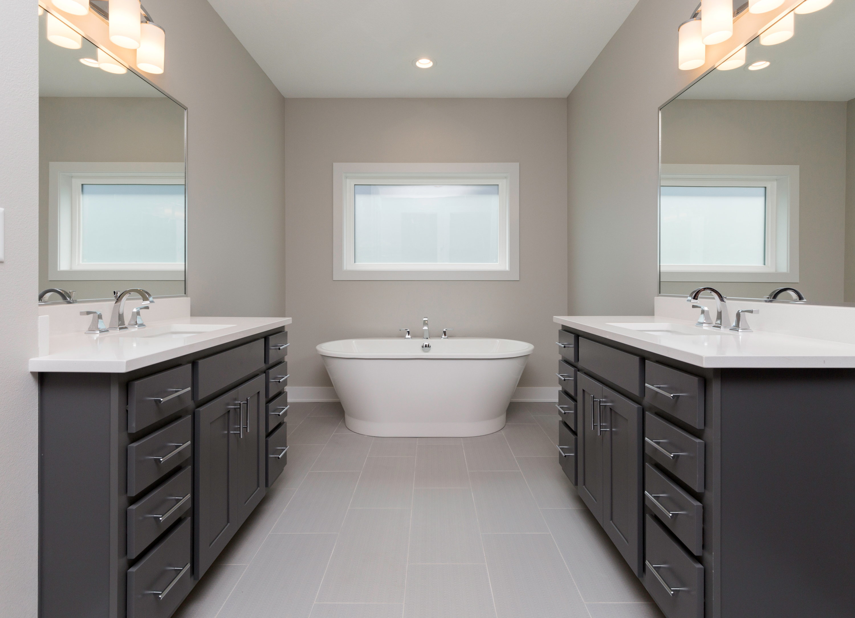 Gray Cabinets and White Tops