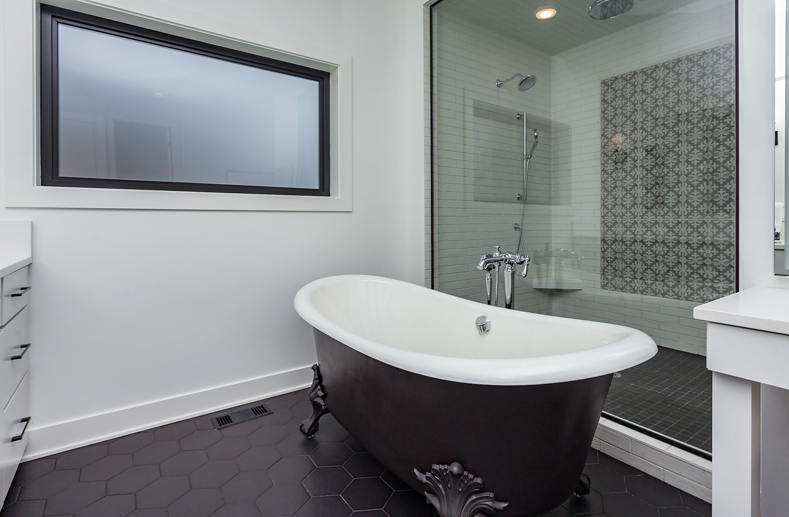 Black and White Tub and Shower
