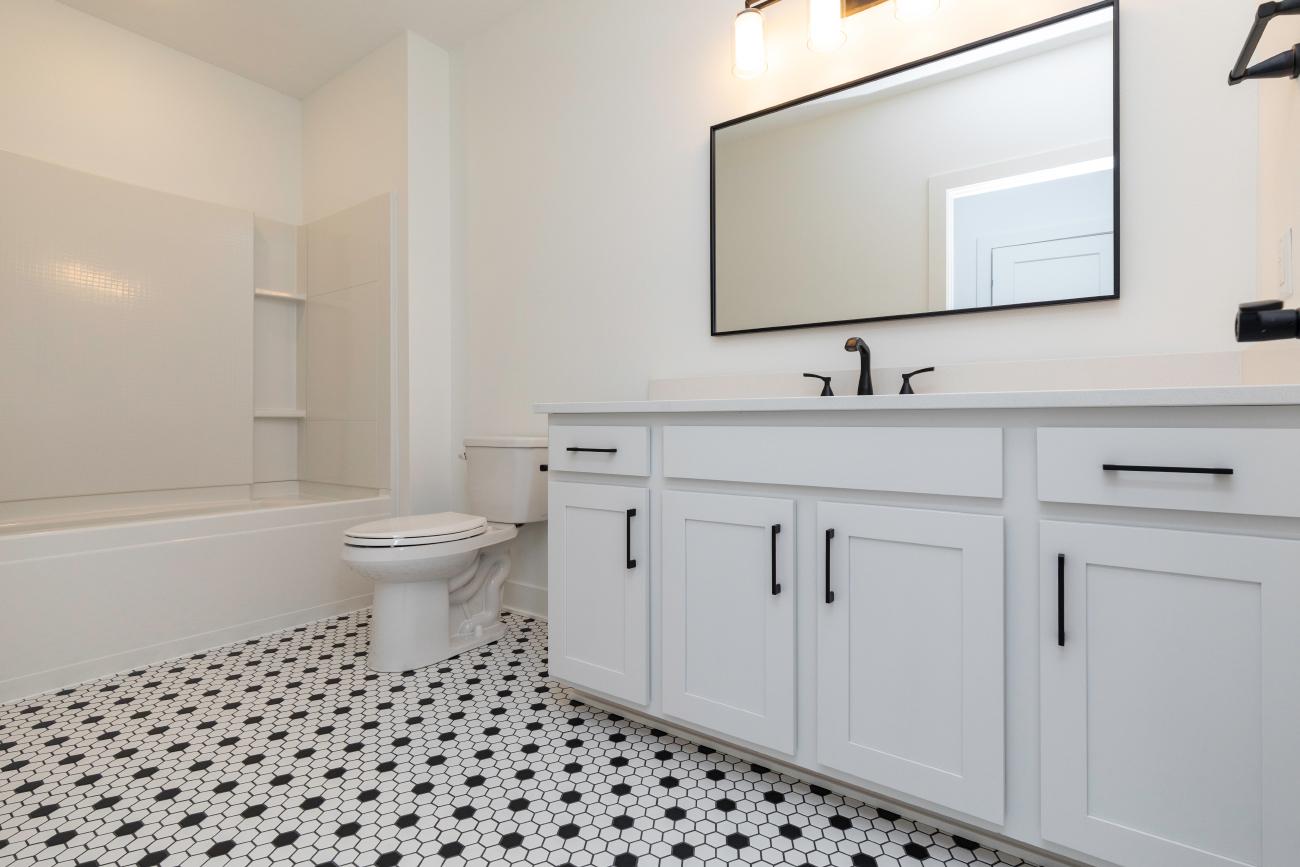 White Basement Bath, Fun Tile