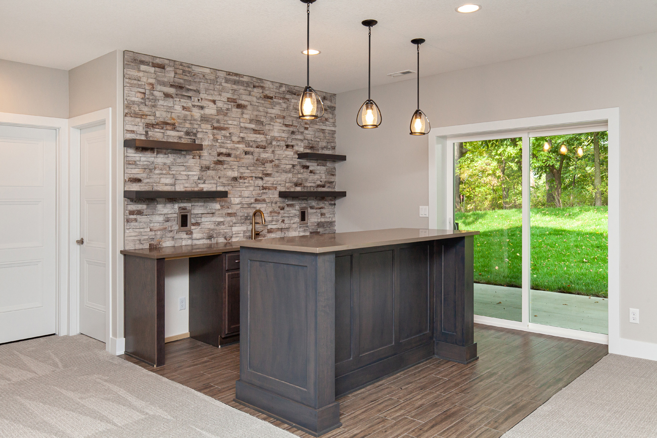 Basement Bar with Quartz Top and Stone Backsplash