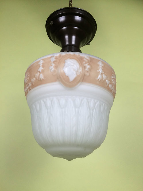 Satin Embossed Milk Glass Globe