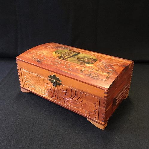 1930's Carved Cedar Box