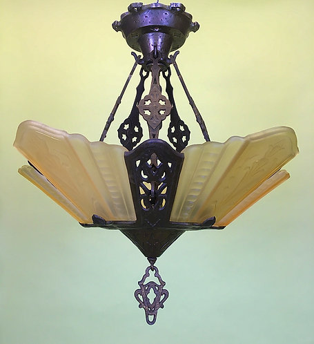 Circa 1925 Slipper Shade Chandelier