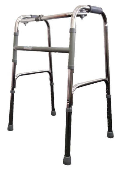 Foldable walking frame with or without wheels