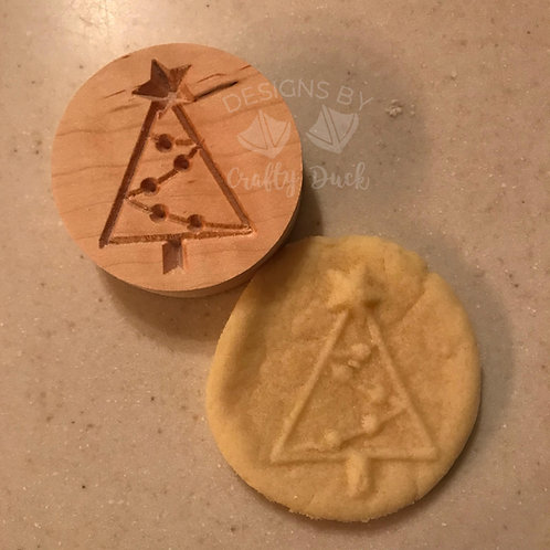 """2.5"""" Wooden Cookie Stamp - Christmas Tree"""