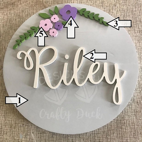 3D Nursery Sign with Floral Design