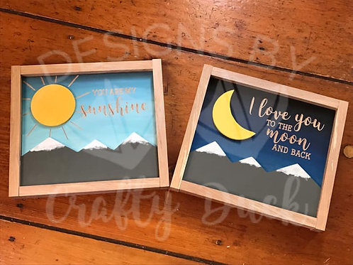 Set of 2 3D Wall Art ~ Sun and Moon