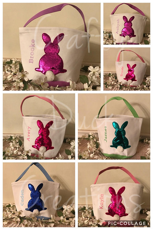 Personalized Reversible Sequin Easter Bunny Basket