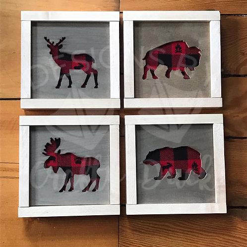 Set of 4 Woodland Animal Wall Art