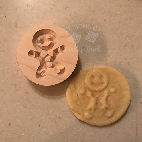 """2.5"""" Wooden Cookie Stamp - Gingerbread Boy"""