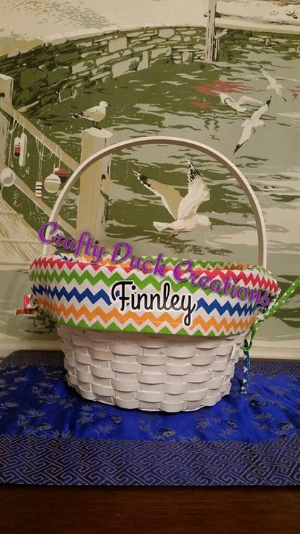 Personalized White Wicker Easter Basket