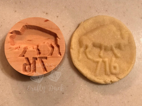 """2.5"""" Wooden Cookie Stamp - 716 Buffalo"""