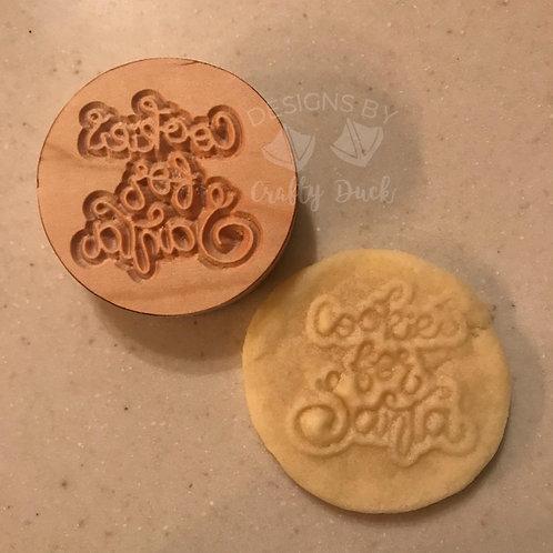 "2.5"" Wooden Cookie Stamp - Cookies for Santa"