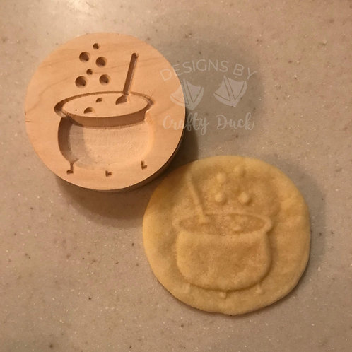 """2.5"""" Wooden Cookie Stamp - Cauldron"""