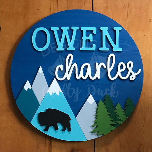 3D Nursery Sign with Mountains Design