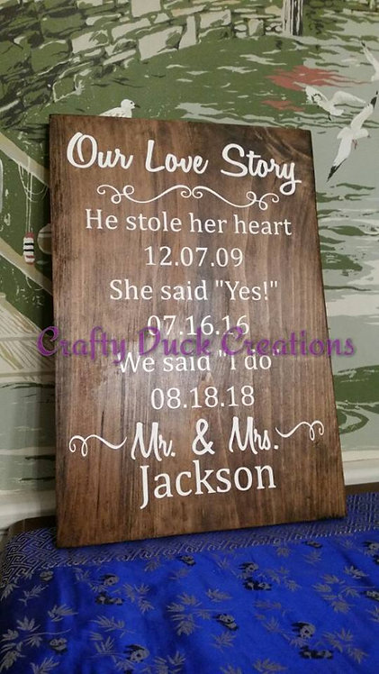Personalized Wood Love Story Sign