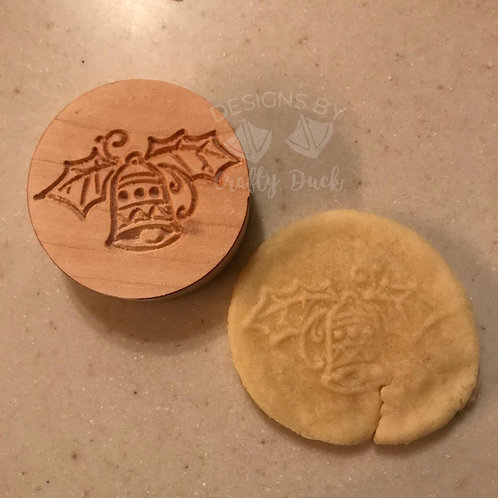 """2.5"""" Wooden Cookie Stamp - Christmas Bell"""