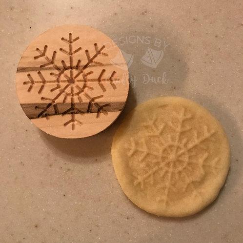 "2.5"" Wooden Cookie Stamp - Snowflake"