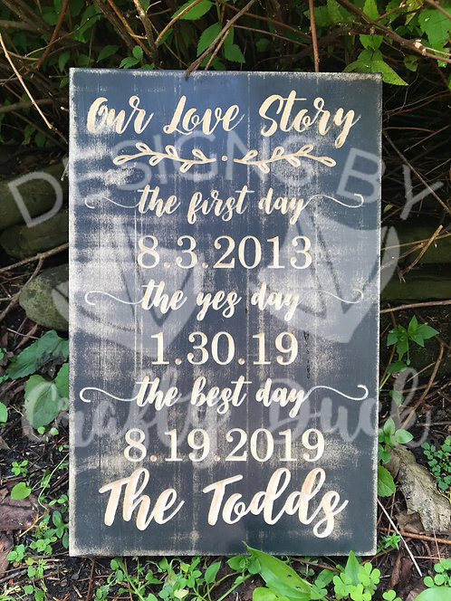 Engraved Our Love Story Sign