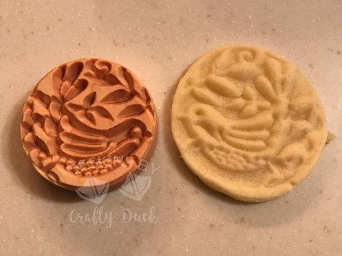 """2.5"""" Wooden Cookie Stamp - Folk Art Bird"""