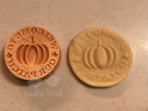 """2.5"""" Wooden Cookie Stamp - Welcome to Our Patch Pumpkin"""