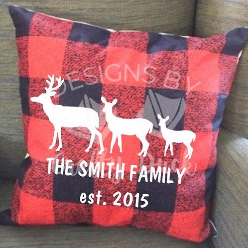 Deer Family Buffalo Plaid Pillow
