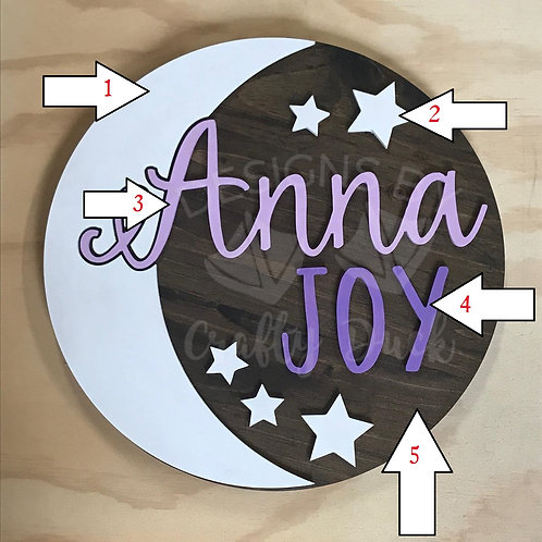 3D Nursery Sign with Moon and Stars Design