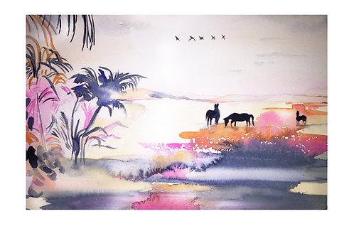Horse fashion art illustration Equine landscape luxury equestrian holiday escape horse art by Belinda Baynes at Pony &  Belle