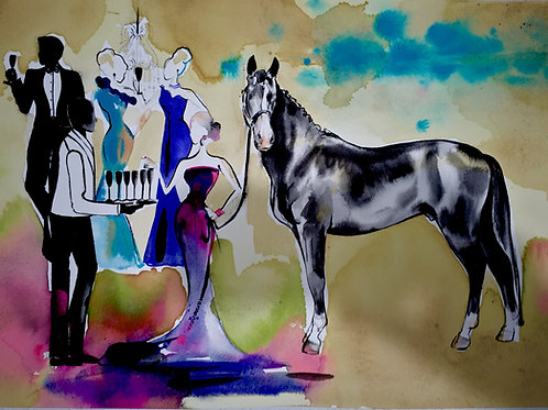 Fashion on the Field horse fashion watercolour art. The fashionable life of the horse lifestyle. Polo dressage and the races.