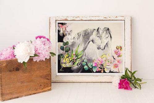 Horse love horse art horse print peony mockup by Sydney horse artist and designer Belinda Baynes