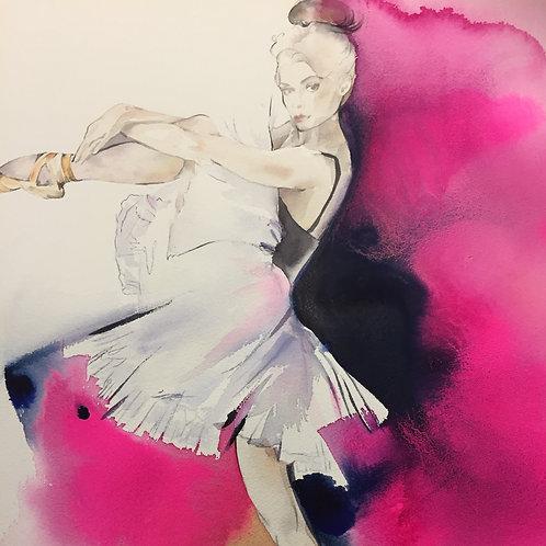 From the Heart ballerina watercolour ballet fashion art by Sydney artist & designer, Belinda Baynes
