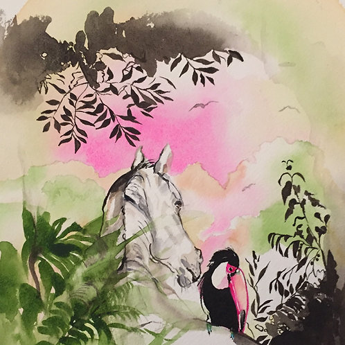 Horse art watercolour sketch. Horse with Toucan rainforest