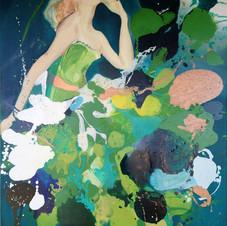 'Mad Men Green' fashion artwork by Belinda Baynes
