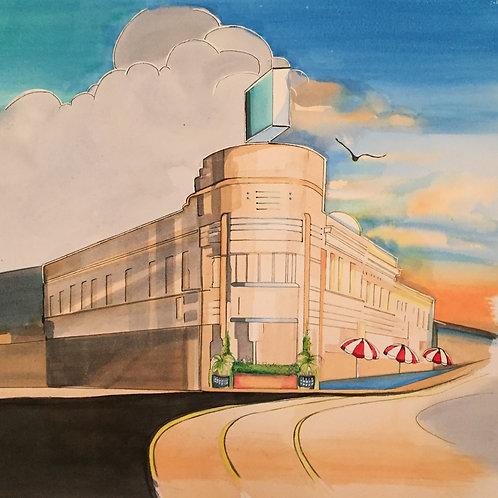 Trial Art Deco building watercolour sketch by Belinda Baynes